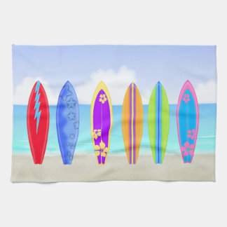 Surfboards Beach Kitchen Towel