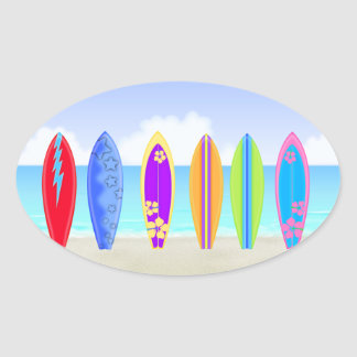 Surfboards Beach Oval Sticker