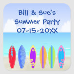 Surfboards Beach Party Favour Square Stickers