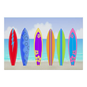 Surfboards Beach Poster/Print Poster