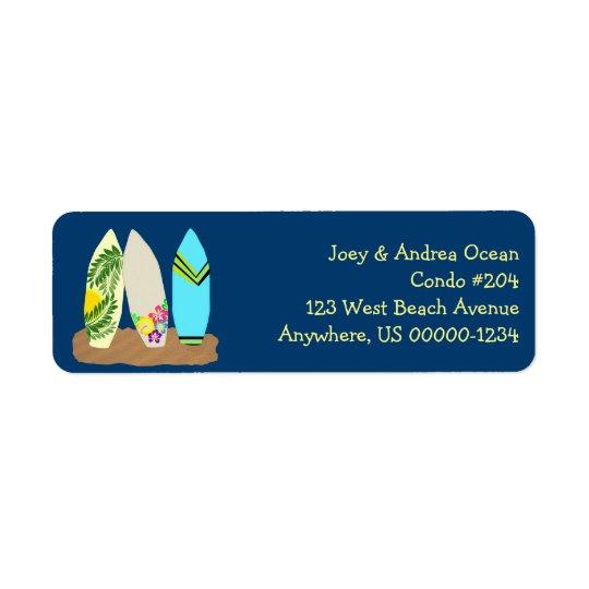 Surfboards Dark Blue Return Address Label