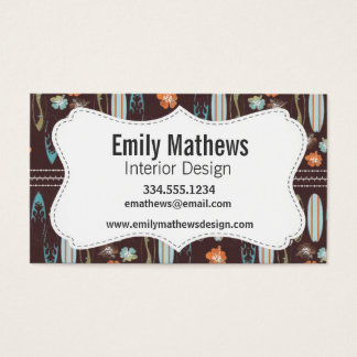 Surfboards & Hibiscus; Brown, Blue, & Orange Business Card