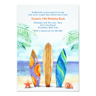 Surfboards on the Beach Invitation