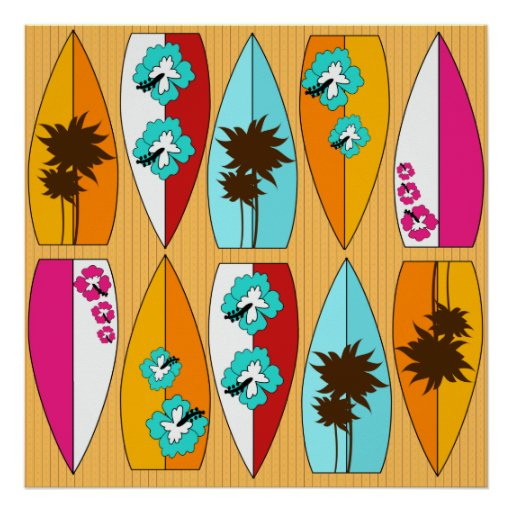 Surfboards on the Boardwalk Summer Beach Theme Posters