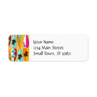 Surfboards on the Boardwalk Summer Beach Theme Return Address Label