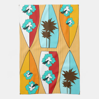 Surfboards on the Boardwalk Summer Beach Theme Tea Towel