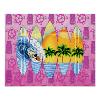 Surfer And Surfboards Print