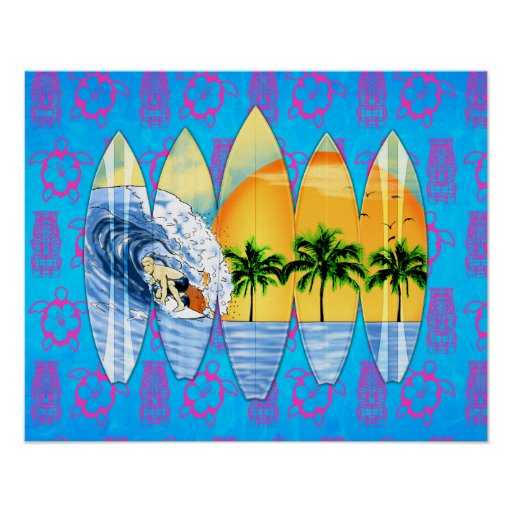 Surfer And Surfboards Posters