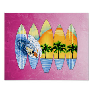 Surfer And Surfboards Poster