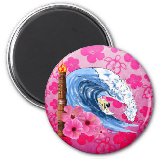 Surfer And Tiki Statue Magnet