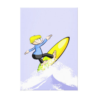 Surfer at a high speed mounting waves canvas print