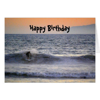 Surfer at Sunset Happy Birthday Card