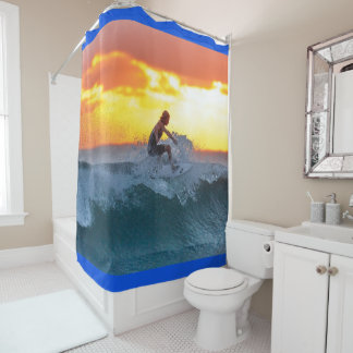 surfer at sunset shower curtain