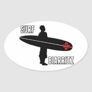 Surfer Biarritz Basque Oval Sticker