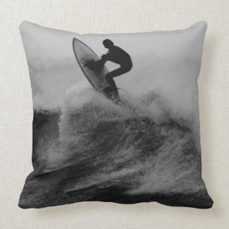Surfer Big Wave Black and White Cushions