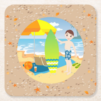 Surfer boy beach birthday party square paper coaster