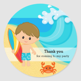 Surfer boy classic round sticker