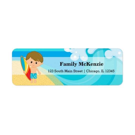 Surfer Boy Return Address Label