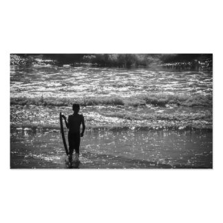 Surfer Boy Silhouette ( black and white) Pack Of Standard Business Cards