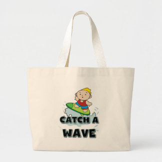 Surfer Catch a Wave Jumbo Tote Bag