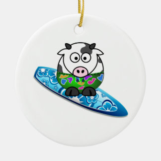 Surfer Cow Ceramic Ornament