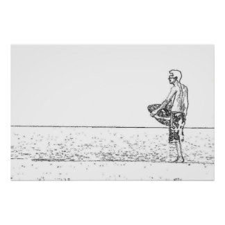 Surfer Drawing Poster
