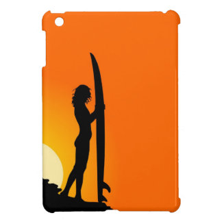 Surfer girl at sunset iPad mini covers