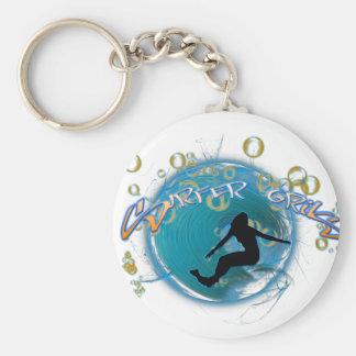 Surfer Girl Basic Round Button Key Ring