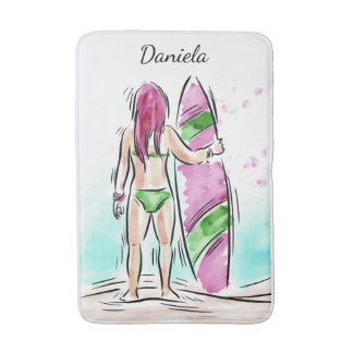 Surfer Girl custom name bath mats