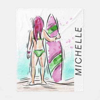 Surfer Girl custom name fleece blanket