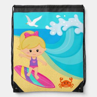 Surfer girl drawstring backpacks