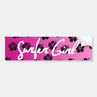 Surfer Girl in Pink Bumper Sticker
