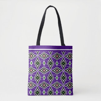 Surfer girl purple and green boho tote bag