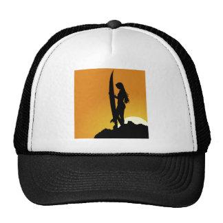 Surfer girl Silhouette Cap