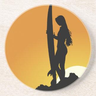 Surfer girl Silhouette Sandstone Coaster