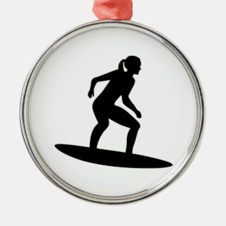 Surfer girl Silver-Colored round decoration