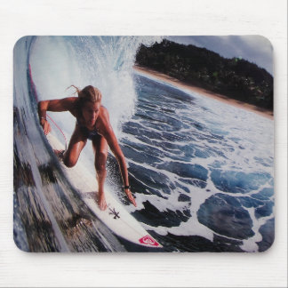 Surfer Girl Wave Riding in Australia water sports  Mouse Pad