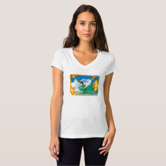 Surfer Girls Bella V-Neck Orange T-Shirt