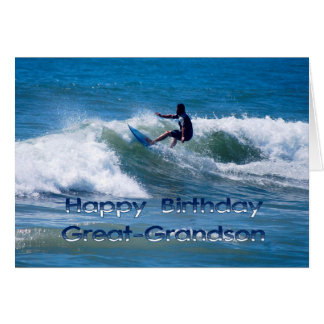 Surfer Happy Birthday Great-Grandson Card