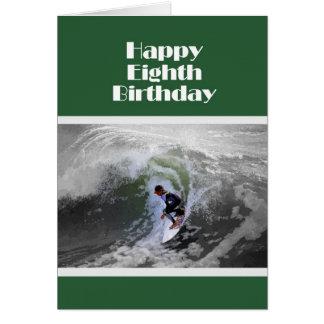Surfer Happy Eighth Birthday Card