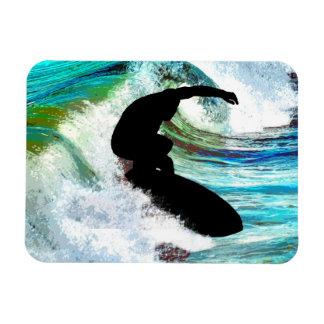 Surfer in Curling Wave Flexible Magnets