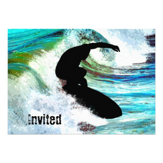 Surfer in Curling Wave Personalized Invitations