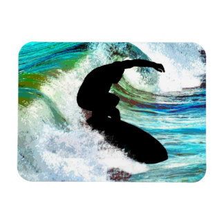 Surfer in Curling Wave Flexible Magnets