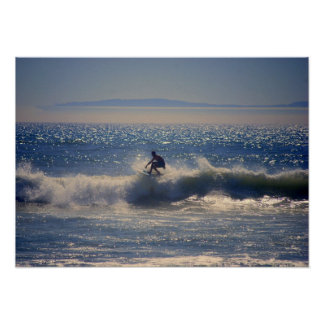 Surfer in Huntington Beach, California Poster