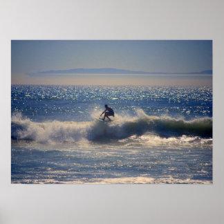 Surfer in Huntington Beach, California Poster