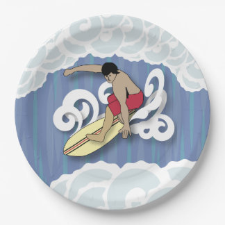 Surfer in the Barrel Paper Plate