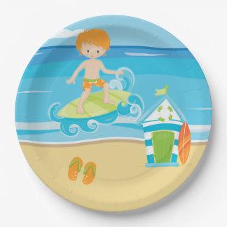 Surfer kids 9 inch paper plate