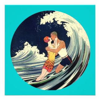 Surfer Lovers Kissing Vintage Illustration Invites