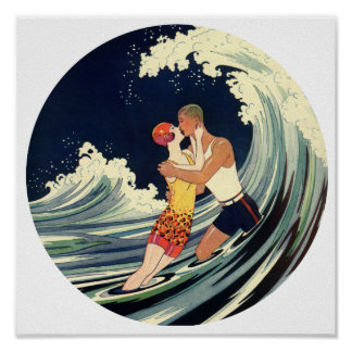 Surfer Lovers Kissing Vintage Illustration Poster