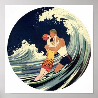 Surfer Lovers Kissing Vintage Illustration Poster